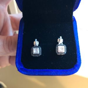 Genuine blue and white diamond earrings on silver